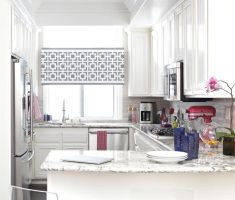 enchanting white kitchen with small modern window treatments