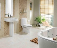 enchanting white and beige bathroom tiles theme