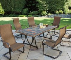 fabulous agio patio furniture with 6 chairs brown themed