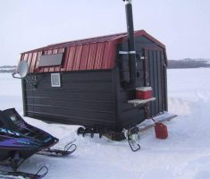 fancy black small ice fishing house