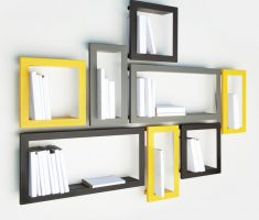 fancy black and yellow wall mount shelf design bookshelf
