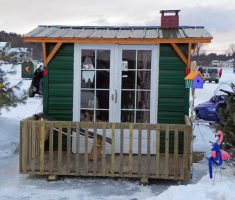 fancy small ice fishing house shanty