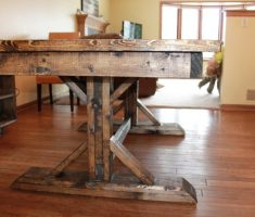 farmhouse dining table reclaimed sideview