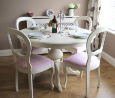 feminim white dining table and chairs shabby chic with pink ascent