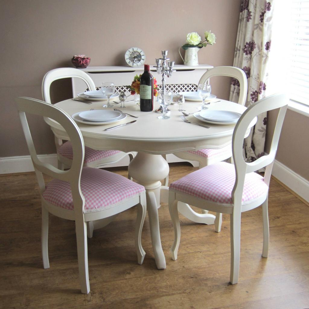 feminim white dining table and chairs shabby chic with pink ascent home inspiring. Black Bedroom Furniture Sets. Home Design Ideas