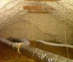 foam spray of attic insulation