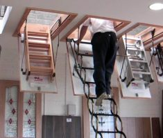 four pull down attic stairs
