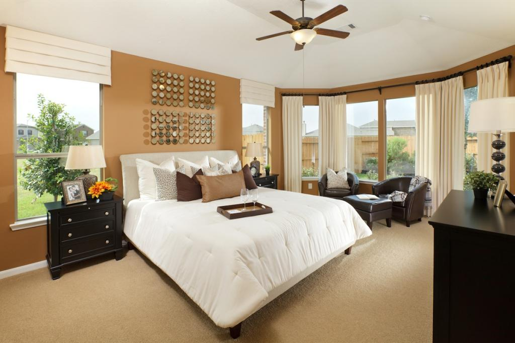 Fresh Brown And White Master Bedrooms Decoration Color With Beige Rugs