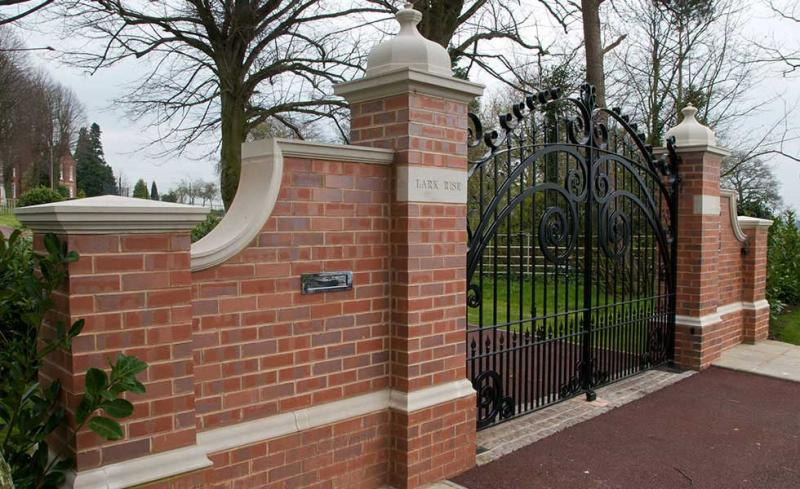 Front Gate Designs With Brick Wall Pillar