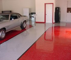 garage floor cover coating red and white colours