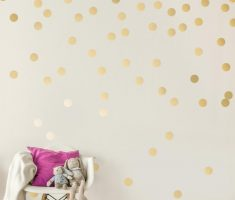 gold polka dot wall decals metalic color