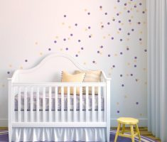 gold purple polka dot wall decals for nursery