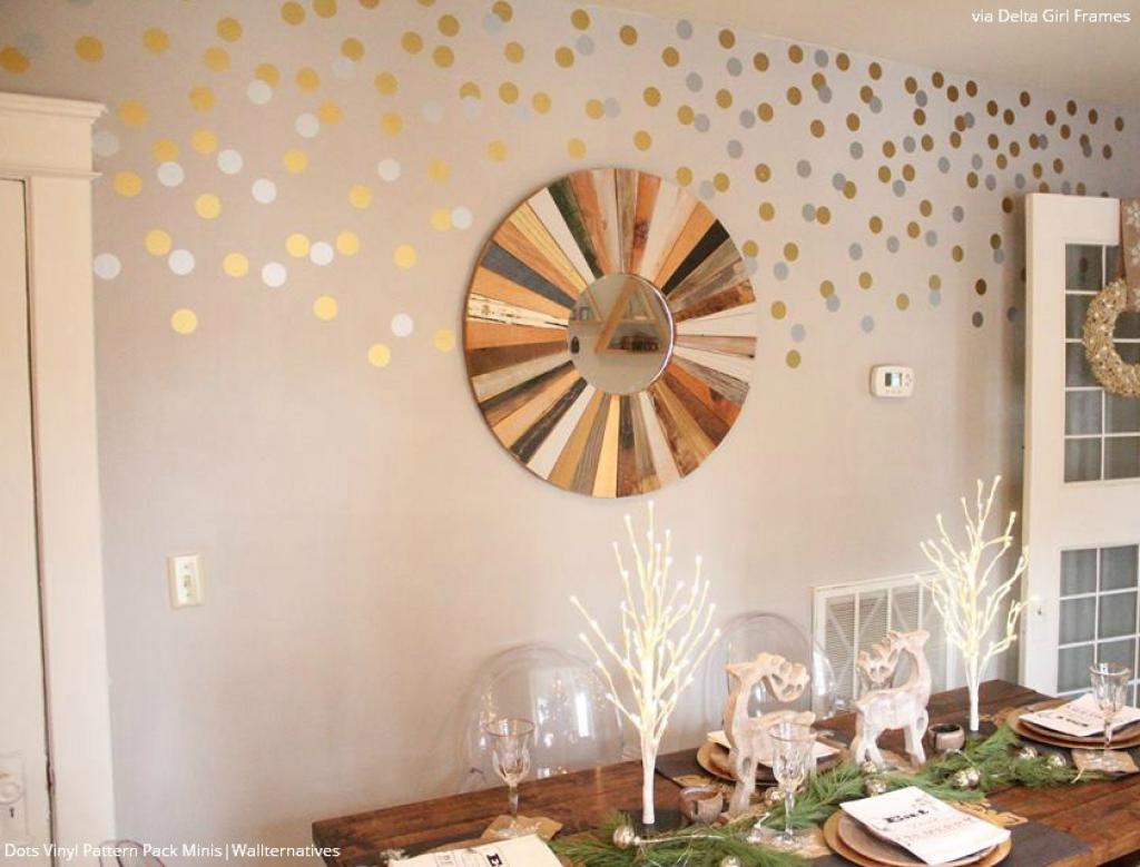 Gold And Silver Polka Dot Wall Decals