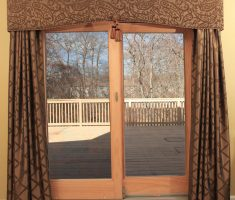 golden brown patio door curtain with floral pattern