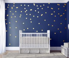 golden polka dot wall decals and blue paint wall nursery room
