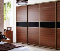 gorgeous red wood sliding closet doors for bedroom