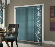 green grey patio door curtain with floral pattern