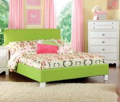 green modern girls bedroom furniture with ivory white cabinets