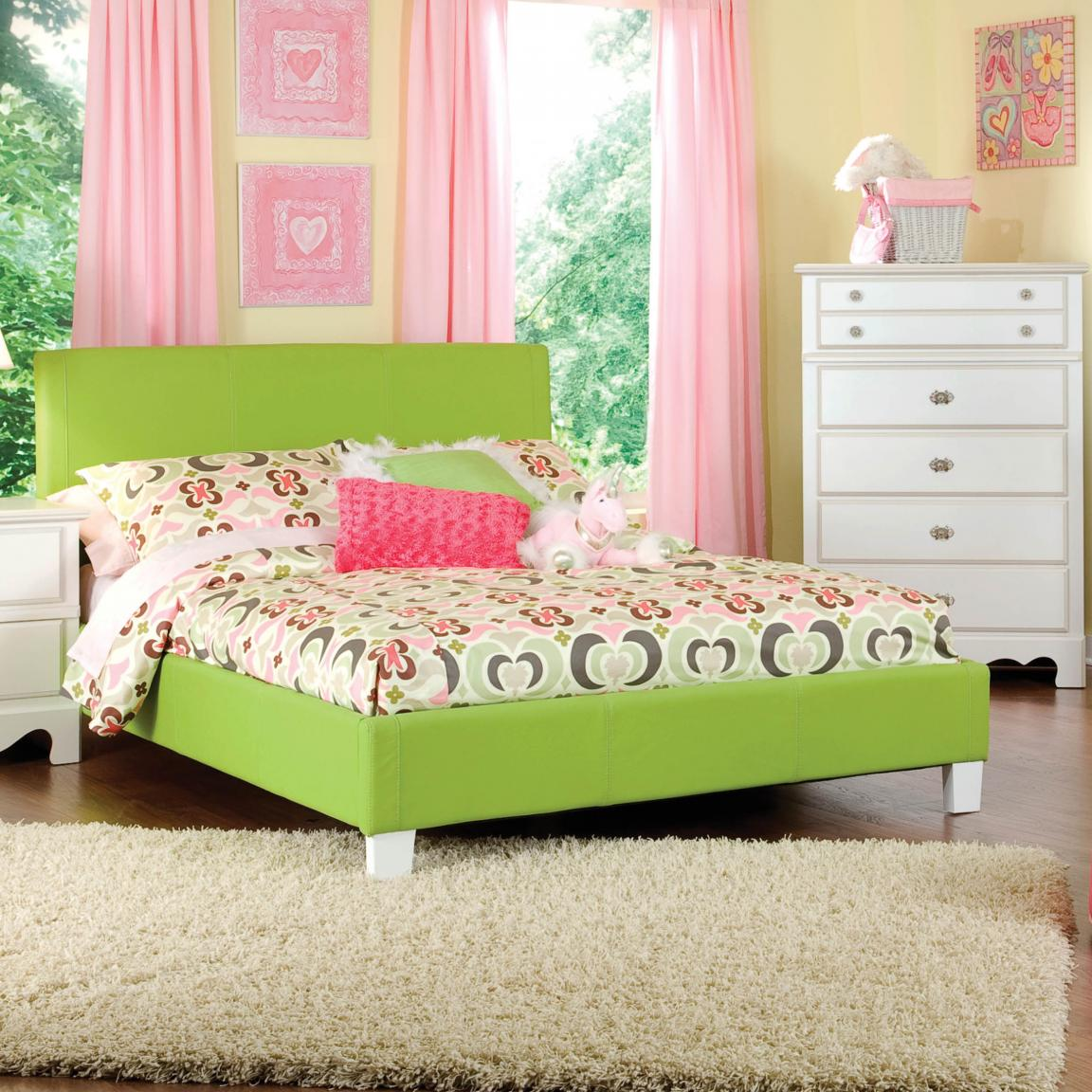 Green modern girls bedroom furniture with ivory white for Girls white bedroom furniture