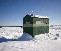 green portable ice fishing house