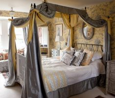 grey curtain canopy beds