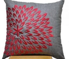 grey throw pillow covers with red embroidery flowers decoration