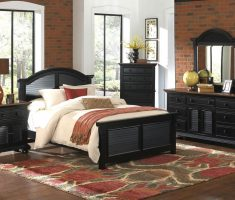 impressing blac rustic bedroom furniture with brick wall decor