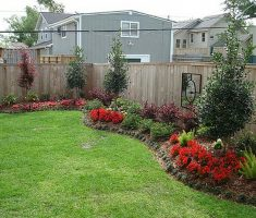 interesting backyard landscaping ideas with wooden fence