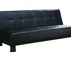 leahter ikea black small sofa bed