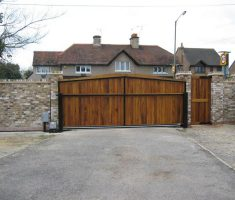 light brown wood front gate designs with brick fence wall