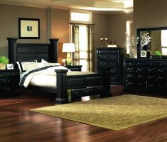 lux blac rustic bedroom furniture with wooden flooring