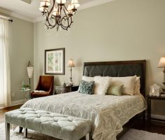 lux master bedrooms decoration with tufted ottoman and white shaggy rug