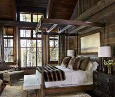 lux wood canopy beds with hardwood wall