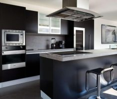 luxurious black modern with island