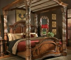 luxurious carving wooden pilar for canopy beds wood materials