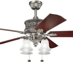 luxurious chrome ceiling fans with lights by kichler with wooden wings and 4 lamps