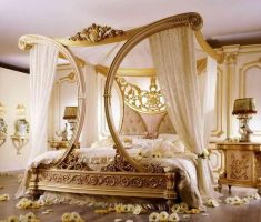 luxurious royal gold canopy beds with carving canopy for wedding romantic