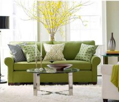 luxurious small living room with comfy green sofa and some green throw pillow covers design theme with round small glass table