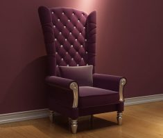 luxurious tufted maroon high back chair