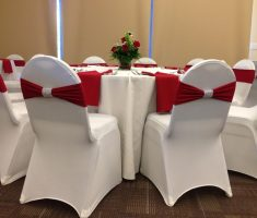 luxurious white bridal folding chair covers spandex with red ribbons