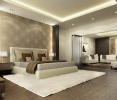 master bedrooms with warm decoration and comfortable shaggy rug on dark hardwood