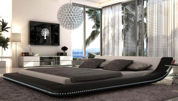 mesmerizing-modern-master-bedrooms-decoration-with-unique-floating-grey-bed-and-wire-ball-chandelier-on-grey-bedroom-theme