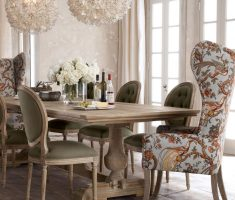 mesmerizing modern royal farmhouse dining table with unique round chandeliers and floral chair