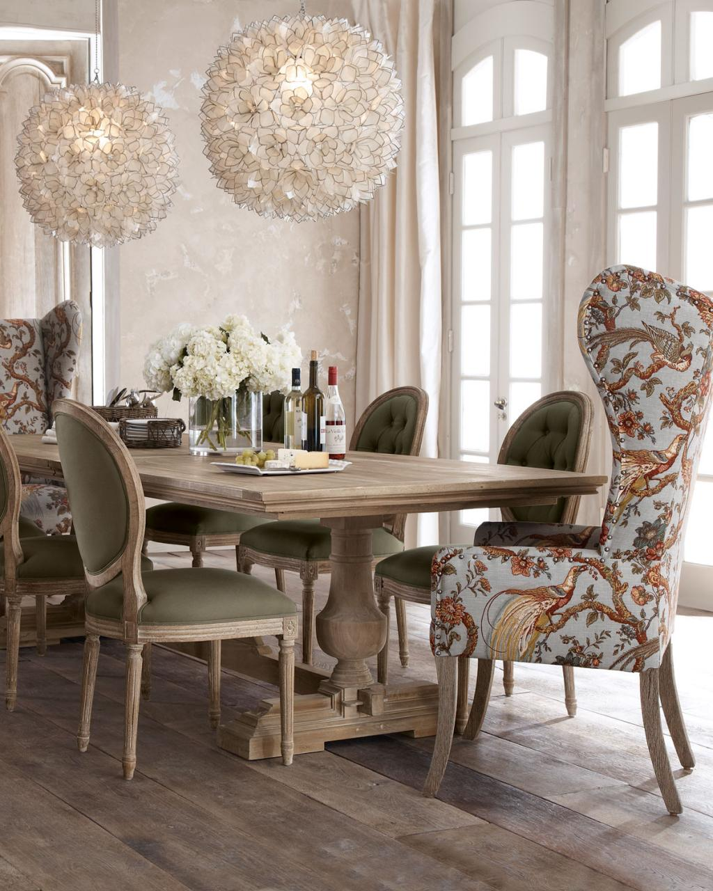 mesmerizing-modern-royal-farmhouse-dining-table-with-unique-round-chandeliers-and-floral-chair