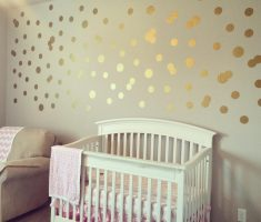 metalic gold polka dot wall decals for nursery