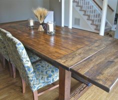 mid long farmhouse dining table reclaimed with chair