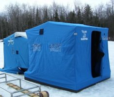 minimalist blue tent portable ice fishing house