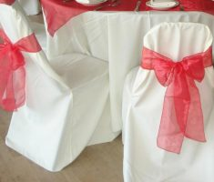 minimalist bridal folding chair covers with red ribbon