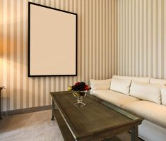 minimalist brown and ivory striped wall paint colors for living room