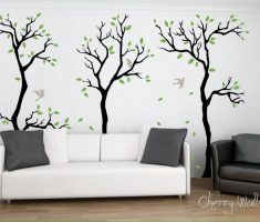 minimalist cherry blossom tree with birds for removable wall decals inspirations